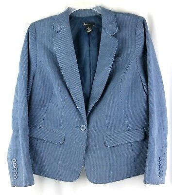 Lane Bryant Blue with White Pinstripe Blazer Women's Size 18 EUC Work/Casual