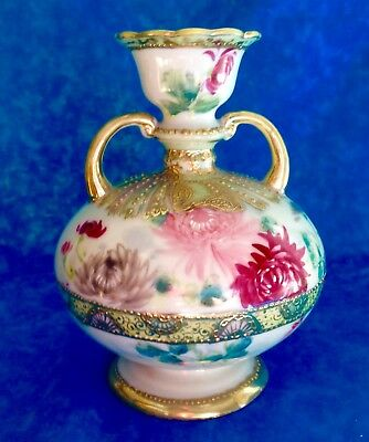 Handpainted NIPPON Floral Beaded Double Handled VASE Flowers ~ Blue Maple Leaf