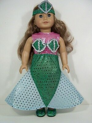 """Mermaid HalloweenCostume Dress Doll Clothes For 18"""" American Girl (Debs)"""