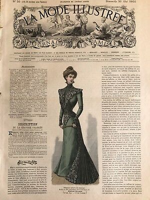 French MODE ILLUSTREE SEWING PATTERN May 20,1900 COSTUME D'EXCURSION