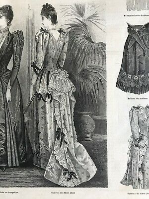 French MODE ILLUSTREE SEWING PATTERN Jan 18,1891 EVENING GOWNS WITH TRAIN