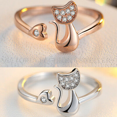 CRYSTAL CAT RING in Silver or Rose Gold Plate. ADJUSTABLE Cat Animal Pet GIFT