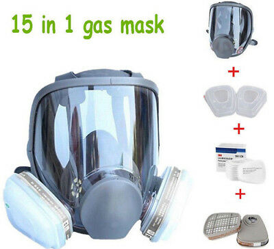 15in1 Gas Mask Full Face Facepiece Respirator Painting Spraying Similar 3M 6800
