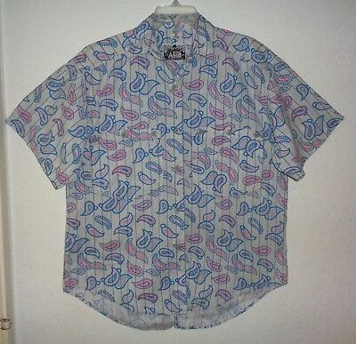 VTG 80s A-HA PAISLEY TUXEDO TAIL SHIRT TOP PRINCE NEW WAVE PASTEL BLUE WOMENS L