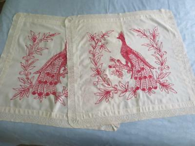 Antique Turkey Redwork & Lace Peacock Pillow Sham Layover Cover Pair