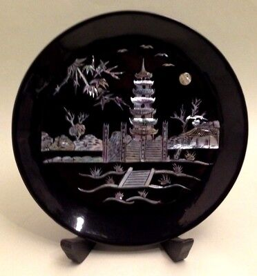 Antique/vintage Chinese black lacquer Mother of Pearl plate Pagoda Scene