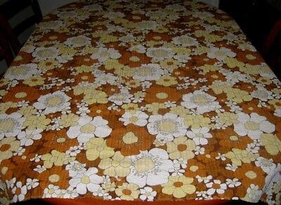 Vintage Tablecloth ~ Autumn Toned Flowers ~ Cotton Seersucker ~ Oblong