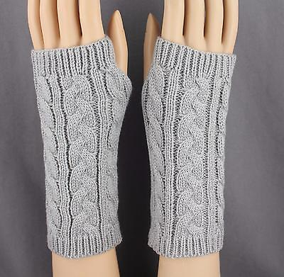 Light Grey cable knit arm warmer fingerless gloves warmers open thumb texting