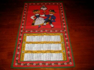 1995 Folk Art Tea Towel ~ 100 % Baumwolle Cotton ~ New