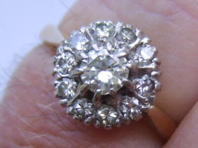 Beautiful Old 18Ct Gold Ring With Genuine White Sparkling Diamonds