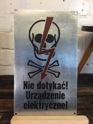 "Vintage Warning Pewter Sign ""High Voltage"" Made in Poland Industrial Wall Plaque"