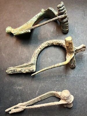 Lot Of 3 X Ancient Imperial Roman Fibula Brooches. Superb 2nd Century Artefacts.