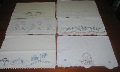 6 Vintage Hand Embroidered Guest Towels~Cotton~Floral & Willlow Pattern Design