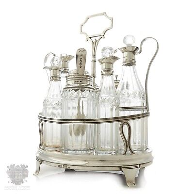 Georgian antique sterling silver full condiment cruet set London 1807 cut glass