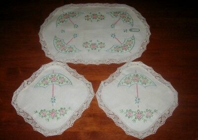 Vintage Pure Irish Linen Duchess Set ~ Parasoles ~ Cream ~Lace Edge ~ New
