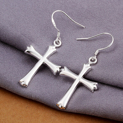 New Women 925Sterling Silver Cross Ear Stud Earrings Hoop Silver Jewelry Earring