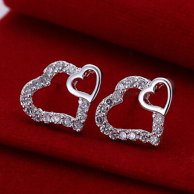 Women 925 Sterling Silver Crystal Rhinestone Ear Stud Earrings Hook Hoop Earring