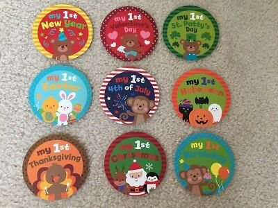 My First Holiday Belly Milestone Stickers - Baby's First Holiday Birthday Easter