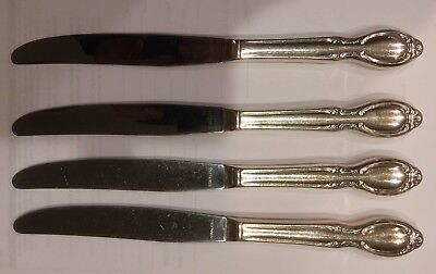 Wm. Rogers PRECIOUS MIRROR  Silver-Plate  Four DINNER KNIVES **