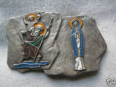 Vintage St Christopher With Baby Jesus Mother Mary Madonna Fatima Made In Italy