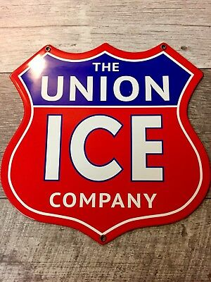 """12""""X12"""" The Union Ice Company Porcelain Truck Door Or Gas Station Sign. Usa."""