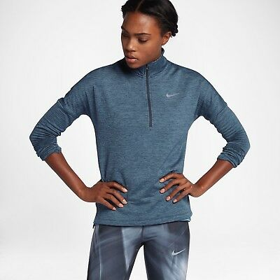 3de841e1 Women's Nike Therma Element Half-Zip Long-Sleeve Top Running Size Small S  Blue