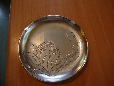 Don Sheil Australia metalware alloy acid etched small dish signed