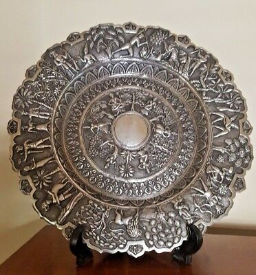 Antique Persian Indian Lucknow Solid Silver Embossed  Large Plate Circa 1890