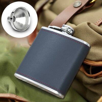 6oz Black Leather Wrapped Stainless Steel Hip Flask Wine Bottle w/ Small Funnel