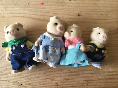 RARE Sylvanian Families Grunt Pig Family Discontinued used excellent condition
