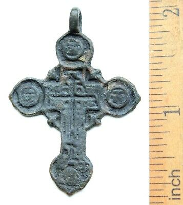 Ancient Old Bronze Ornament Golgotha Tsata Cross Pendant (MAY18)