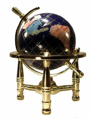 Unique Art 6-Inch by Blue Lapis Ocean Mini Table Top Gemstone World Globe with G