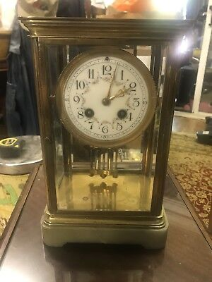 Antique French Brass 4 Glass Mantel Clock Working