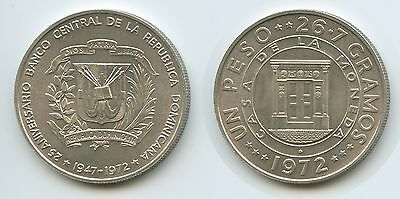 GS776 - Dominican Republic 1 Peso 1972 KM#34 Anniversary - Central Bank Silver