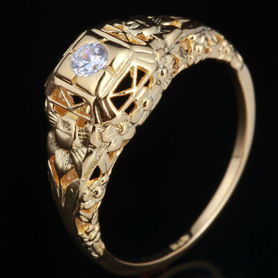 Sterling Silver 925 AAA Graded Cubic Zirconia Gemstone Solitaire Antique Ring