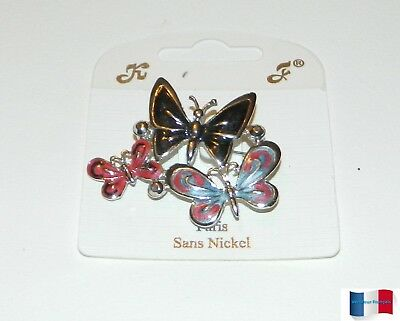 Broche Fantaisie Sans Nickel 3 Papillons Emaille Multicolore Neuf
