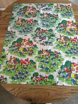 Vintage Smurfs Curtain Panels (4)  28 in x 36 in each, use or cutter fabric