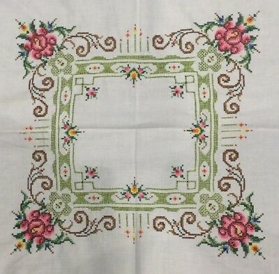 Vintage Floral Embroidered Table Linens 30 X 30 Square Tablecloth 6 Napkins