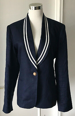 Ralph Lauren Nautical Jacket Navy Blue/white 100% Linen Shawl Collar Lg Slvs 12