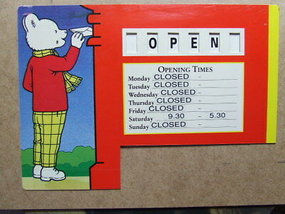 Rupert Bear: Shop Open / Closed & Hours Sign. 1993 Royal Mail issue