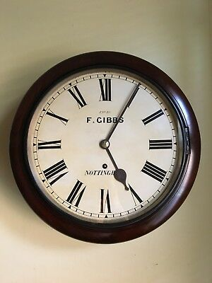 """Beautiful Antique Mahogany W & H Sch 12"""" Dial School Station Office Wall Clock"""