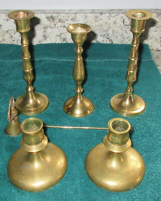 Lot Of 6 Brass/Copper Candle Items