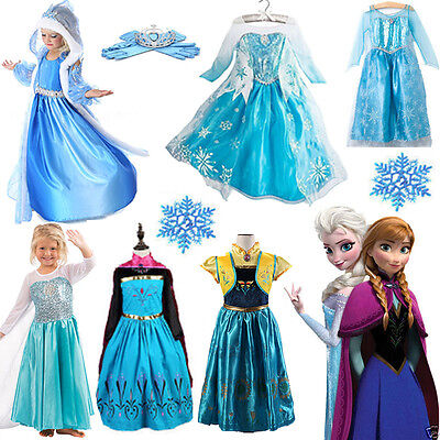 Kids Girls Elsa Frozen Dress Costume Princess Anna Party Dresses Cosplay Sets US