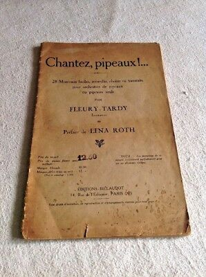 "Antique French Music Book ""Chantez, pipeaux!... Easy Piano Pieces Vintage Music"