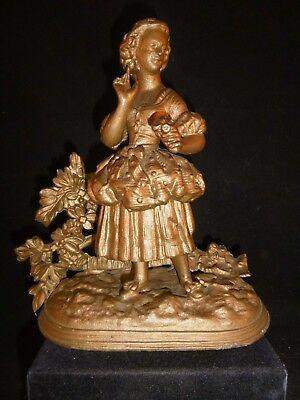 """Beautifully detailed antique French spelter figurine c1900 VGC 7 1/2"""" tall."""