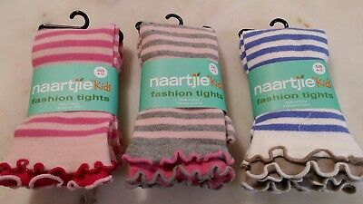 Naartjie Girls Fashion Stripes Tights with Ruffle Bottom Size 9-10 3 Pairs