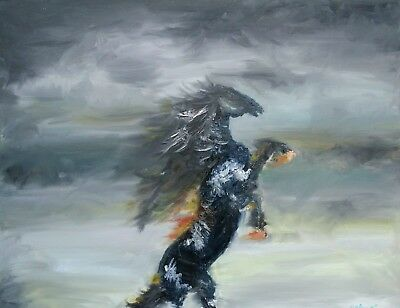 Horse oil painting 'Pegasus' on canvas, signed