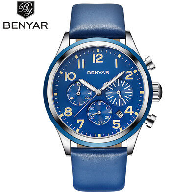 BENYAR Date Waterproof Quartz Watch for Men Military Army Sports Leather Band