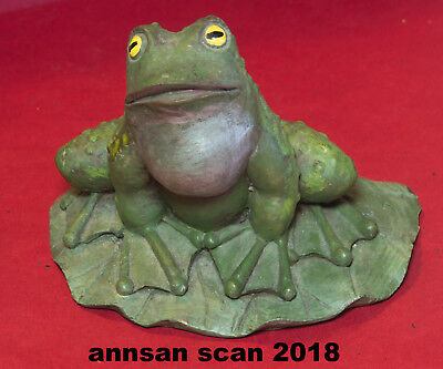 """""""Ribbeting"""" Frog on lily pad figure hand painted plaster 4"""" tall 5"""" across"""