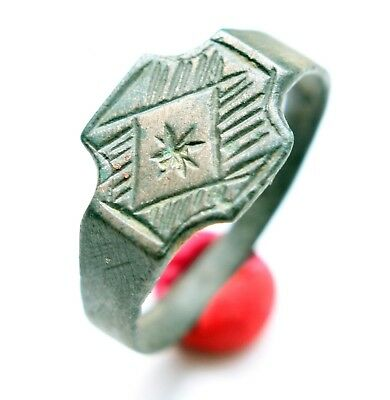 Ancient Medieval Ornament Decorated Bronze Ring (MAY33)